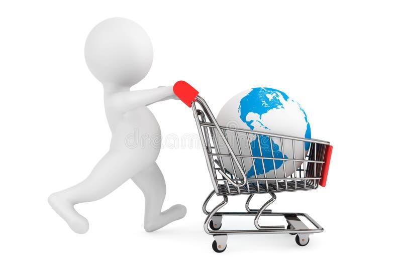 persona 3d con el globo del carro de la compra y de la tierra fotografía de archivo libre de regalías