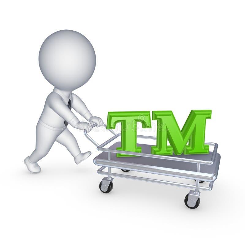 persona 3d con il carretto a mano ed il simbolo del TM. fotografia stock libera da diritti