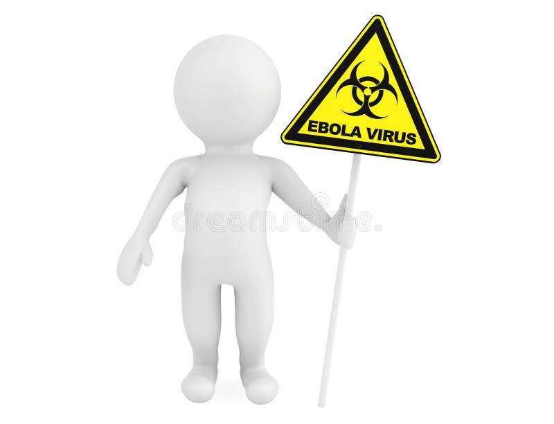 persona 3d con il segnale di rischio biologico di ebola illustrazione vettoriale