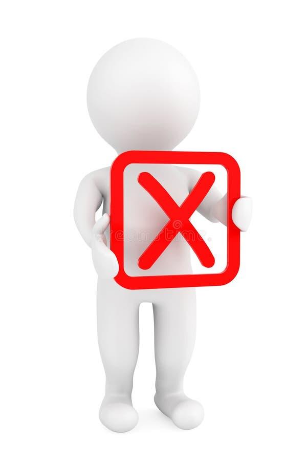 persona 3d con il simbolo negativo rosso in mani royalty illustrazione gratis