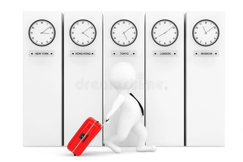 persona 3d con la maleta delante de columnas con el reloj de la zona horaria fotografía de archivo