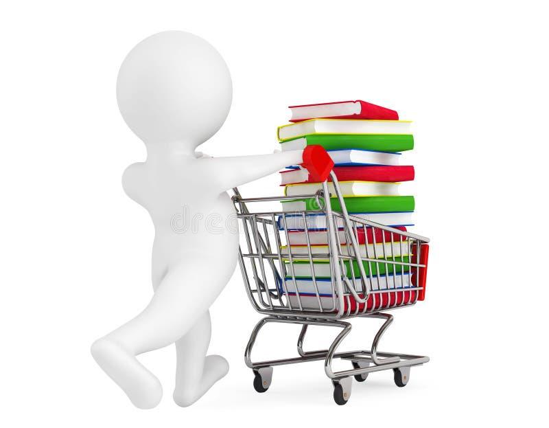 persona 3d que empuja el carro de la compra con los libros ilustración del vector