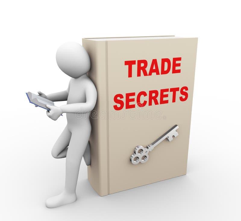 persona 3d que lee el libro de los secretos comerciales stock de ilustración