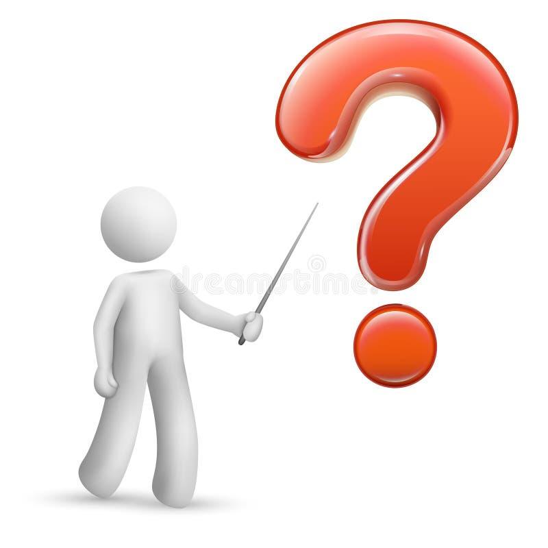 persona 3d que señala en un signo de interrogación grande libre illustration