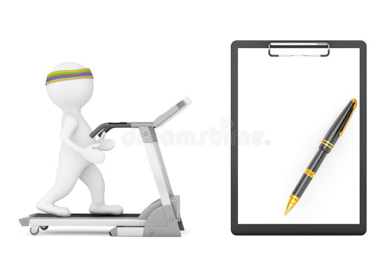 persona 3d sobre la rueda de ardilla delante del tablero con el papel en blanco libre illustration