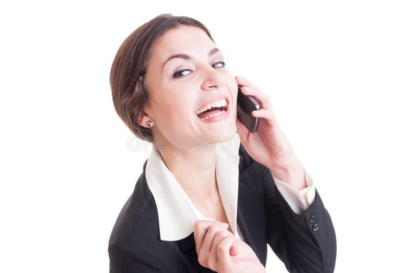 Persona de contacto feliz, amistosa y sonriente de la hembra o de la mujer fotos de archivo