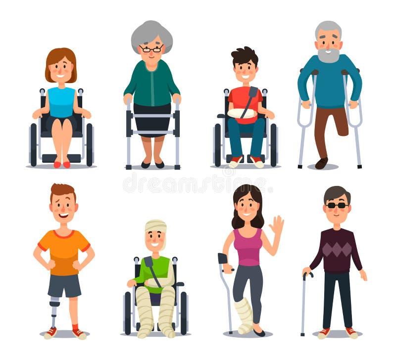Persona de la incapacidad Gente y ancianos ciegos de la incapacidad en las muletas o la silla de ruedas Carácter discapacitado pa ilustración del vector
