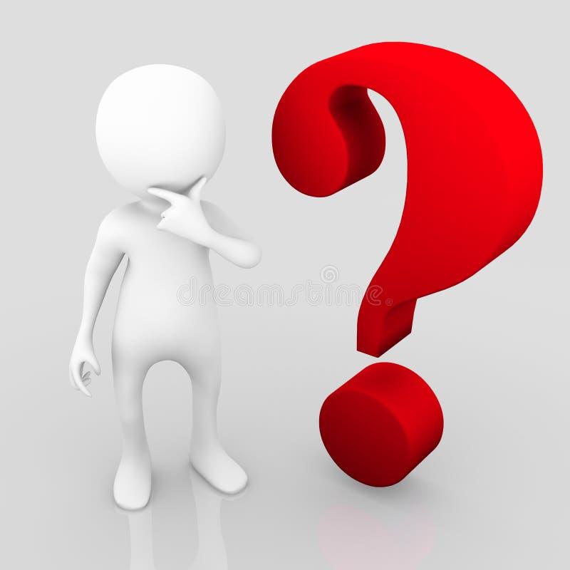 Persona de pensamiento de la pregunta grande stock de ilustración