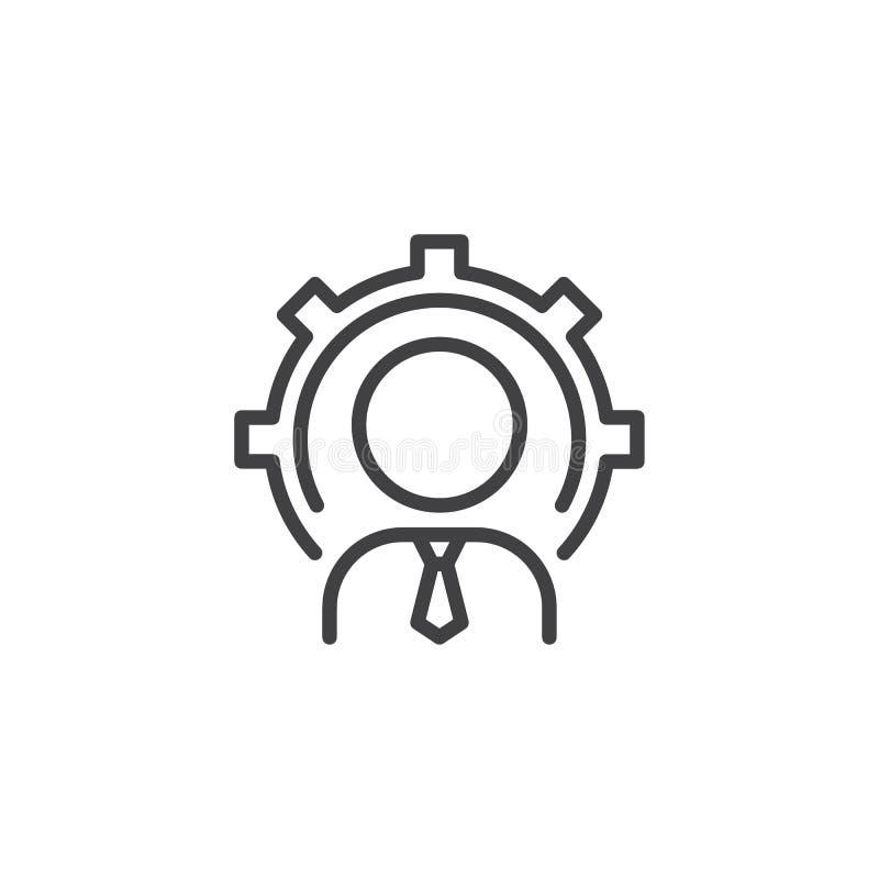 Persona del hombre de negocios con el icono del esquema del engranaje ilustración del vector