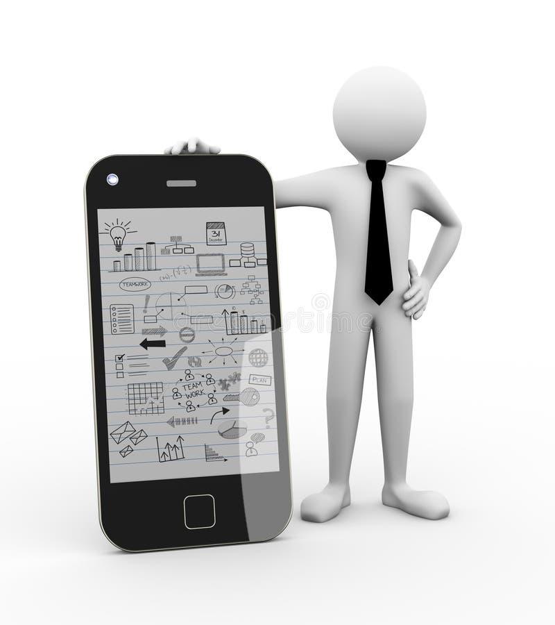 persona del negocio 3d con el dibujo del negocio móvil libre illustration