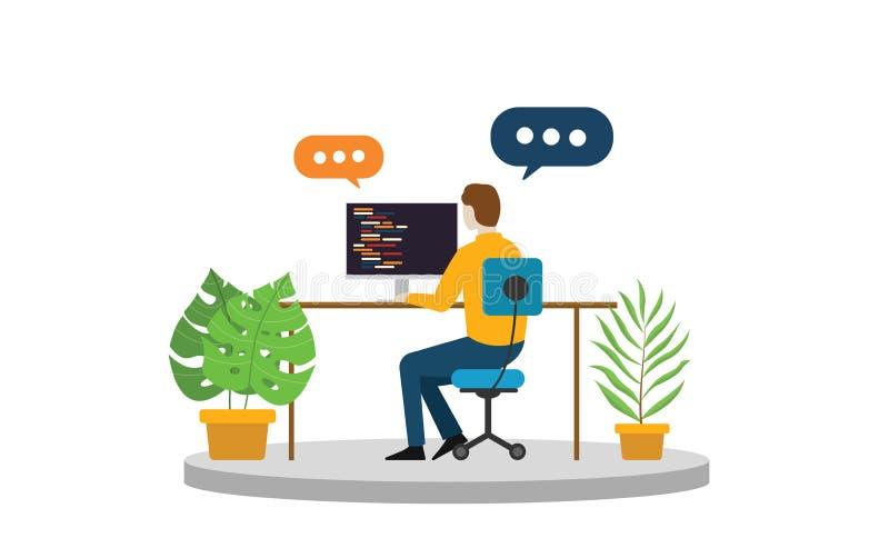 Persona del negocio del programador o del freelancer que se sienta y que trabaja solamente en el escritorio stock de ilustración
