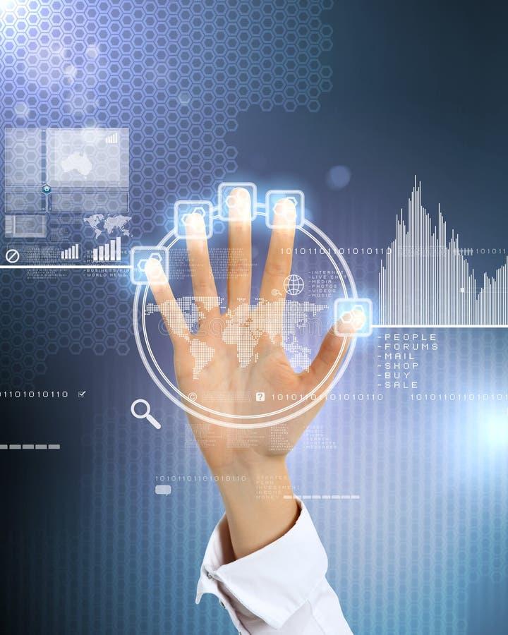 Tecnología virtual en negocio foto de archivo