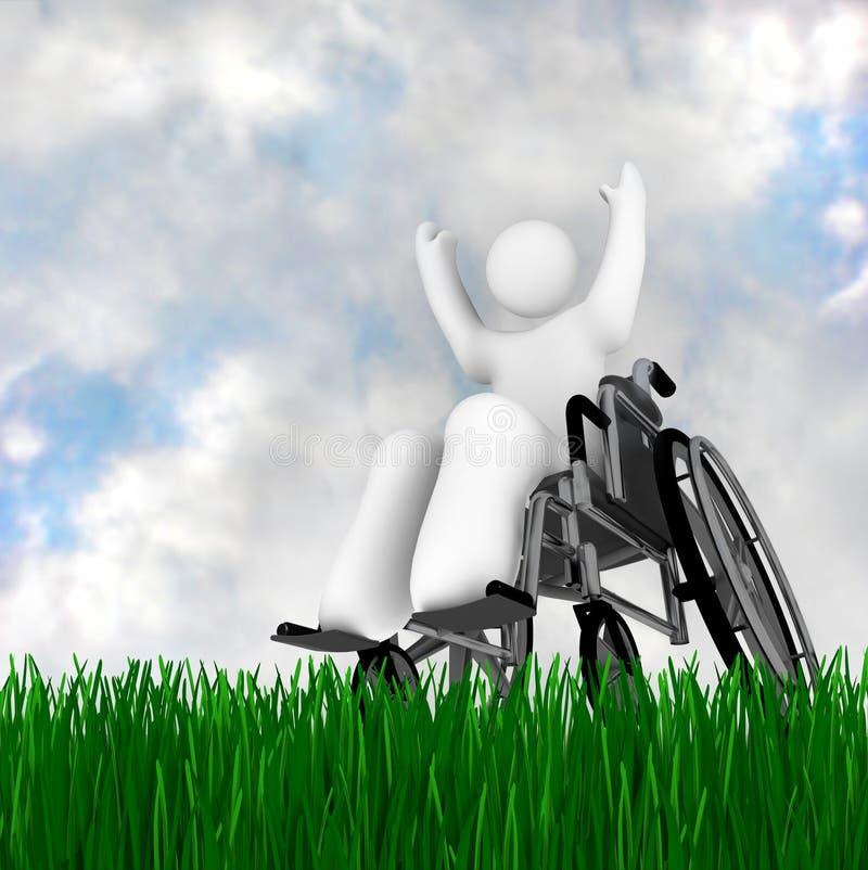 Persona del sillón de ruedas que goza al aire libre ilustración del vector