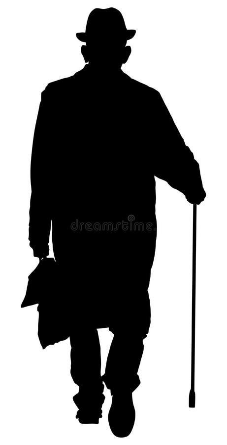 Persona dell'uomo anziano che cammina con la siluetta di vettore del bastone Doppio agente in ombra illustrazione vettoriale