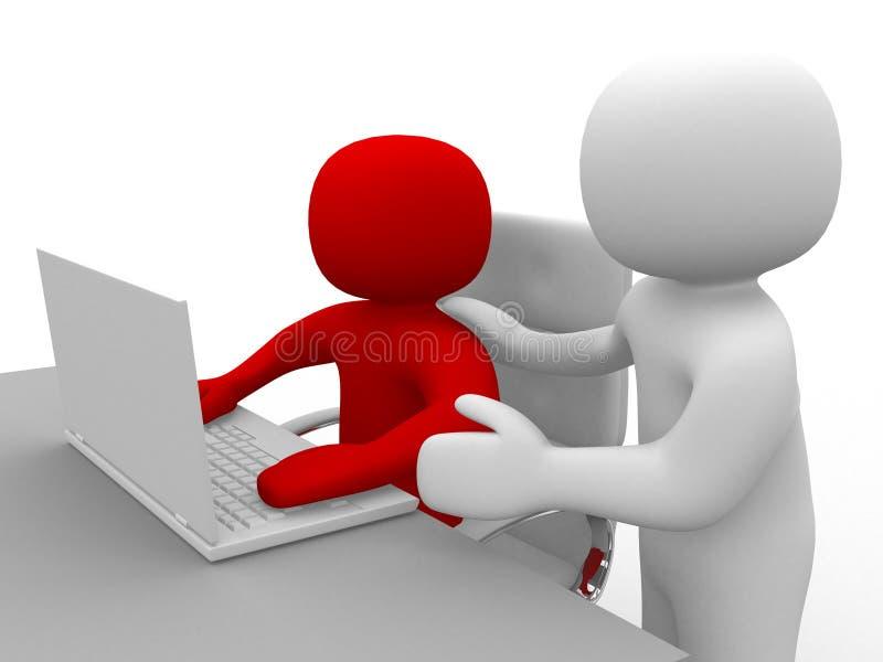 persona della gente 3d e un computer portatile ad un ufficio. Soci commerciali immagini stock