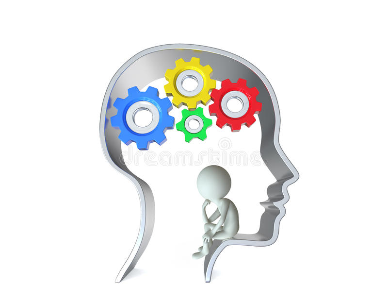 Persona dentro de la cabeza humana stock de ilustración