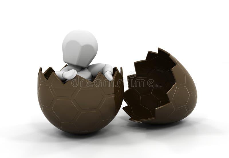 Persona dentro del huevo de Pascua ilustración del vector