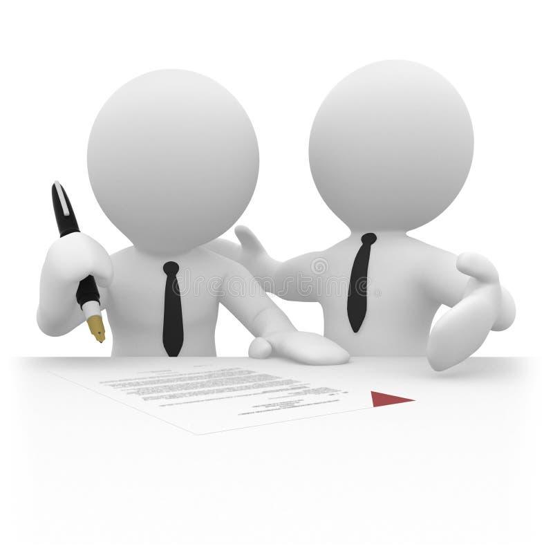 persona di affari 3D che firma un contratto illustrazione vettoriale