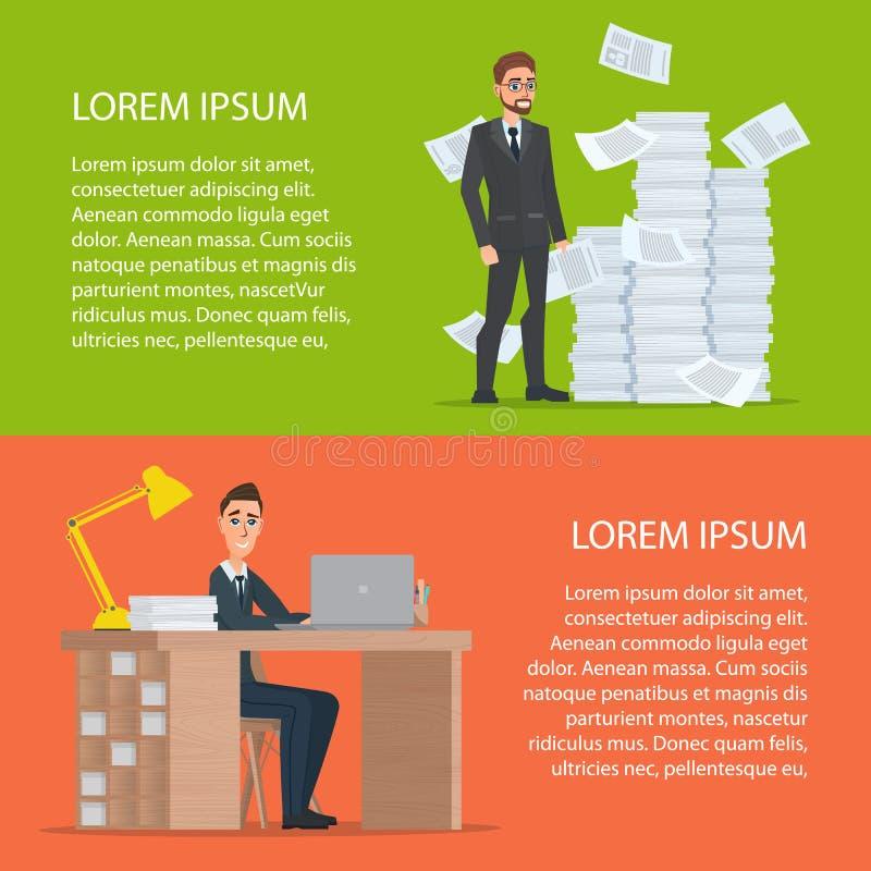 Persona di affari che lavora al computer Documenti di affari e un pi illustrazione di stock