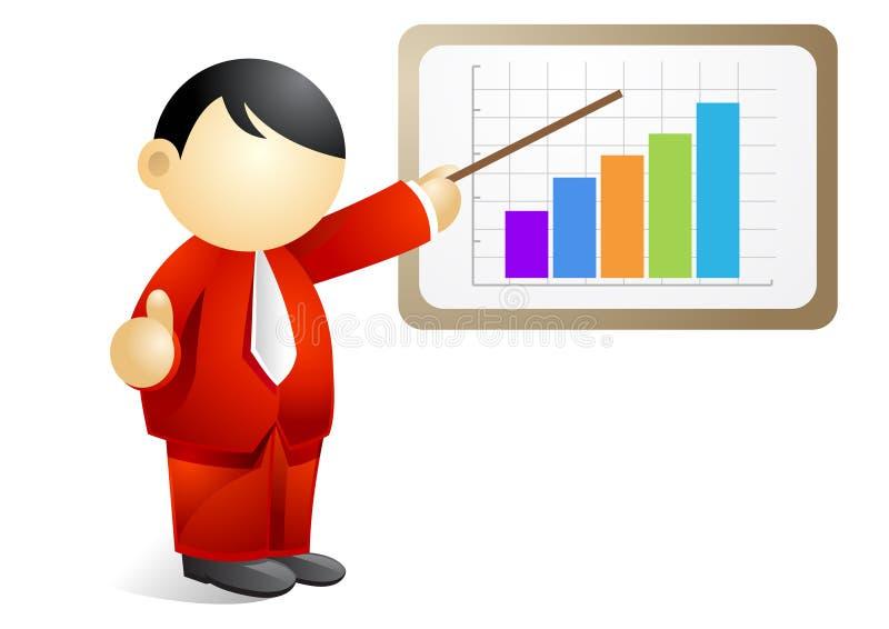 Persona di affari - presentare un diagramma progressivo illustrazione di stock
