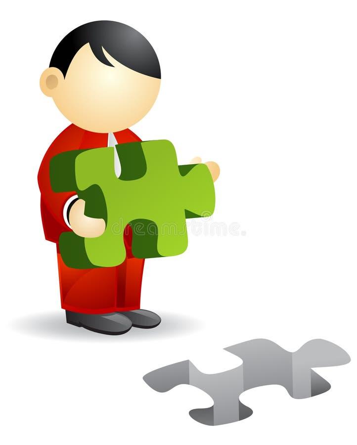 Persona di affari - puzzle illustrazione di stock