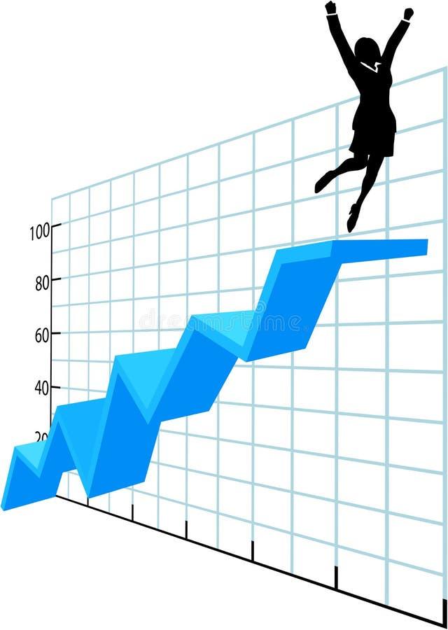 Persona di affari in su sul diagramma di successo di sviluppo dell'azienda illustrazione vettoriale