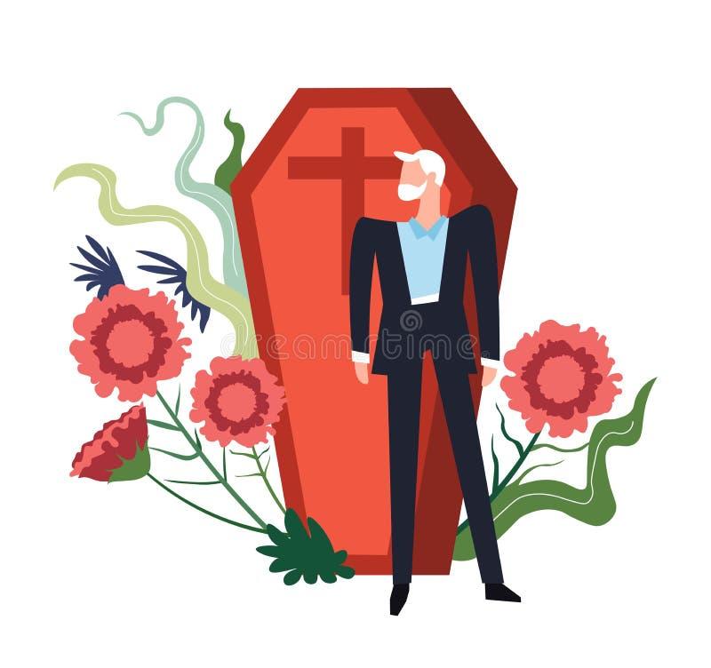 Persona di cerimonia funerea che si addolora dalla bara della persona deceduta illustrazione di stock