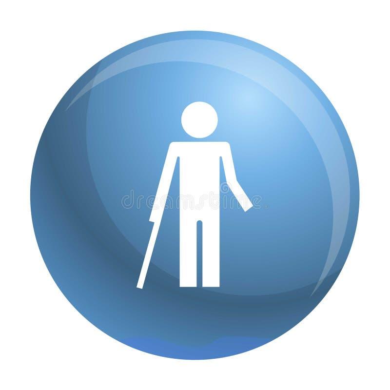 Persona di inabilità ed icona sana del bambino, stile semplice royalty illustrazione gratis