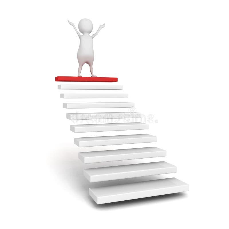 Persona di successo 3d sulla cima dei punti o della scala della scala illustrazione vettoriale