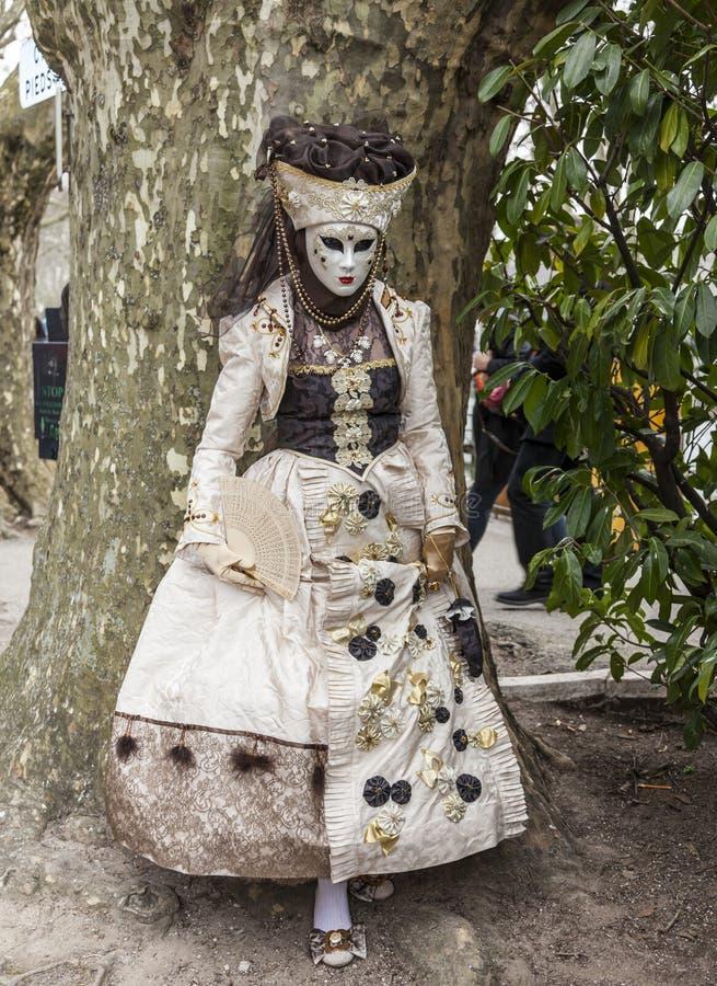 Persona disfrazada - carnaval veneciano 2014 de Annecy fotografía de archivo