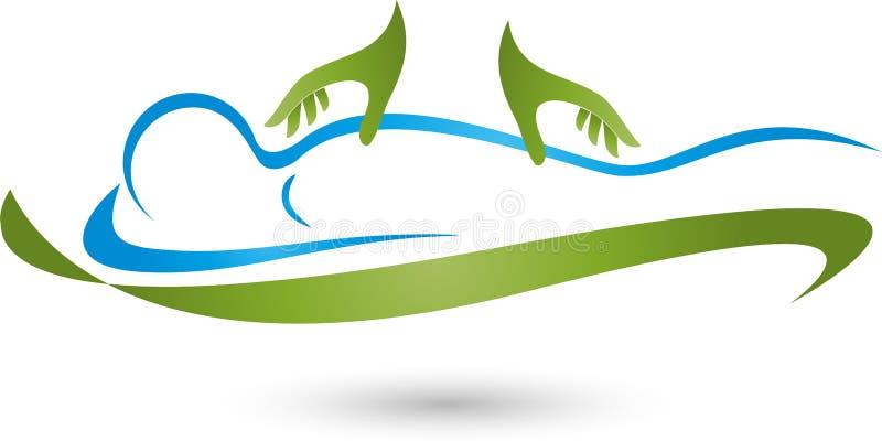 Persona e due mani, massaggio e logo naturopatico immagini stock libere da diritti