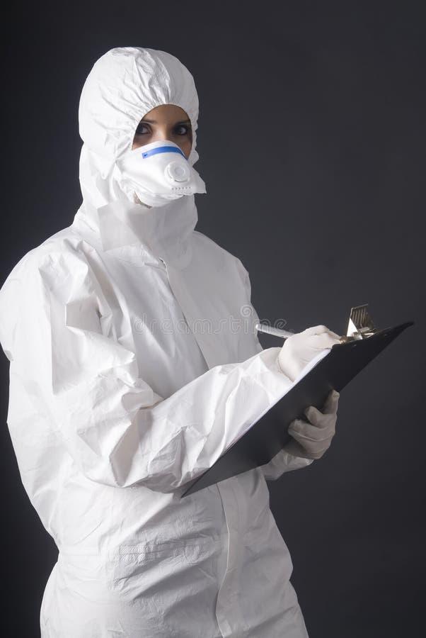 Persona en alineada biológica del peligro en fondo negro fotos de archivo libres de regalías