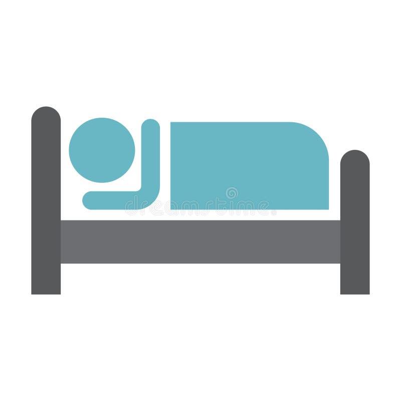 Persona en cama e icono plano del hotel stock de ilustración