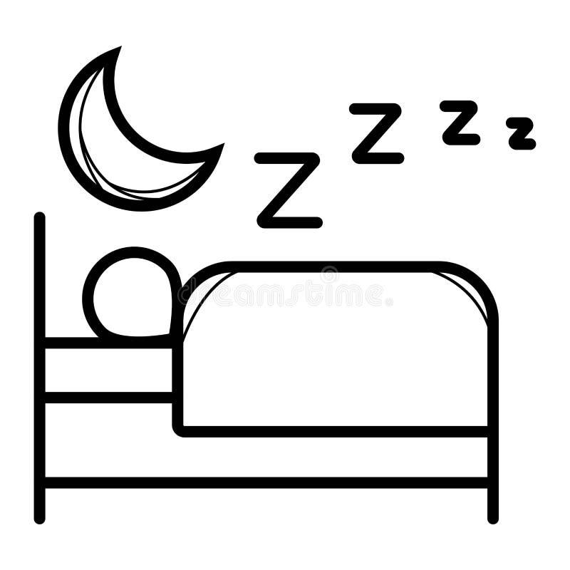 Persona en cama Icono plano del hotel ilustración del vector