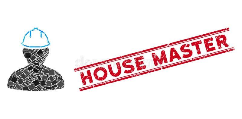 Persona en el mosaico Hardhat y sello principal de la casa de Grunge con líneas libre illustration