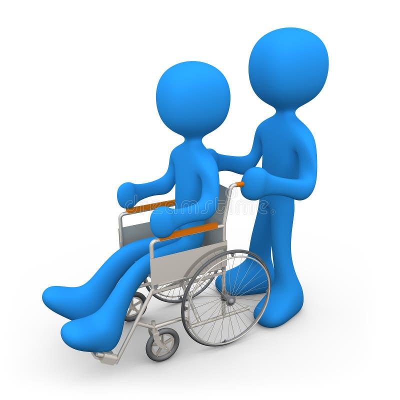 Persona en el sillón de ruedas stock de ilustración