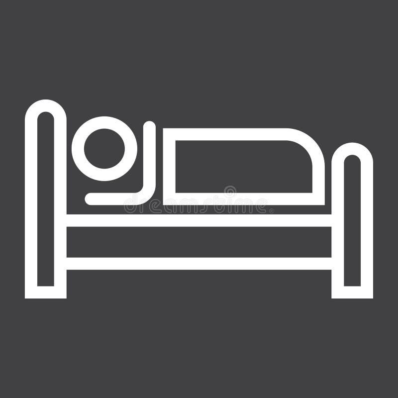 Persona en la cama y la línea icono del hotel stock de ilustración