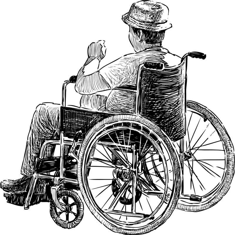 Persona en silla de ruedas ilustración del vector