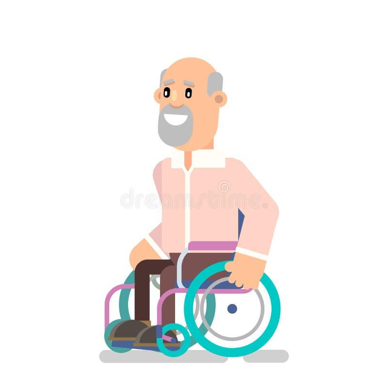 Persona en una silla de ruedas ilustración del vector
