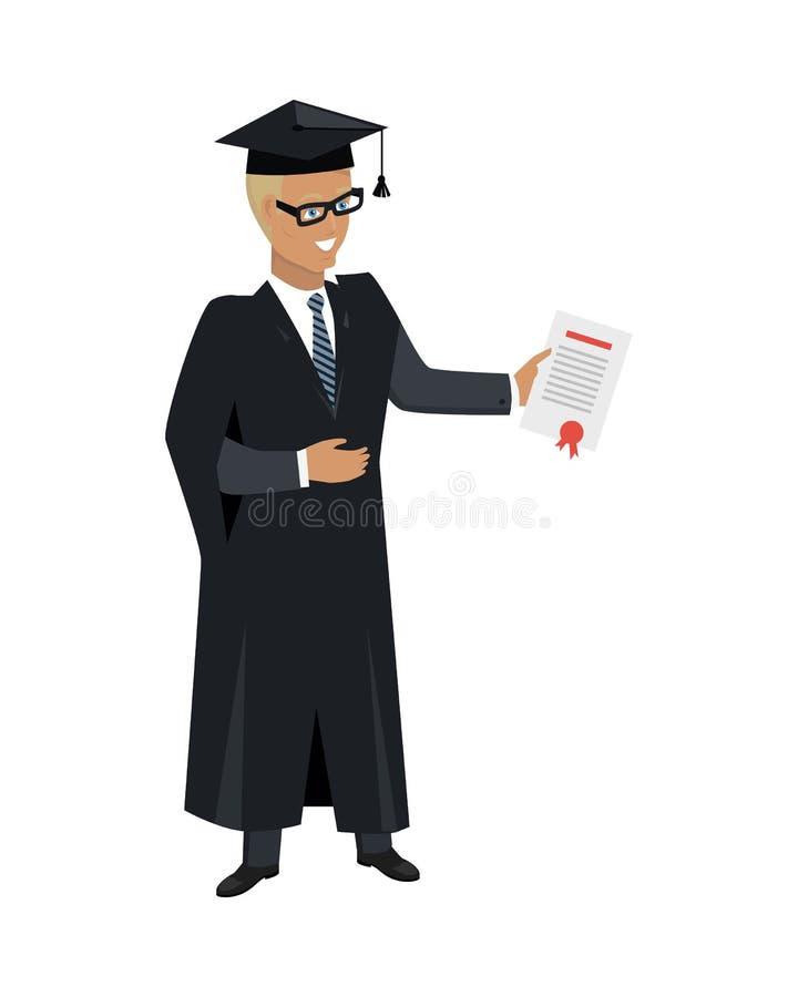 Persona en vestido de la capa y casquillo cuadrado académico ilustración del vector