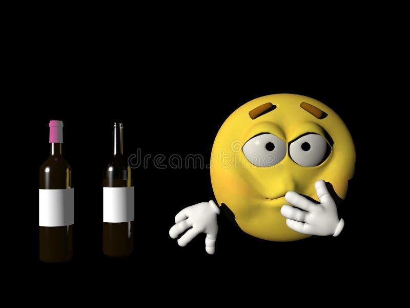 Persona enferma del Emoticon del alcohol - 3d rinden libre illustration