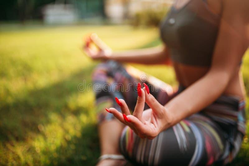 Persona femenina en la actitud de la yoga, entrenamiento al aire libre imagenes de archivo