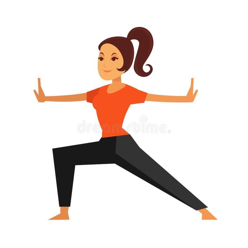 Persona femenina joven que hace el ejercicio del karate aislado en blanco ilustración del vector