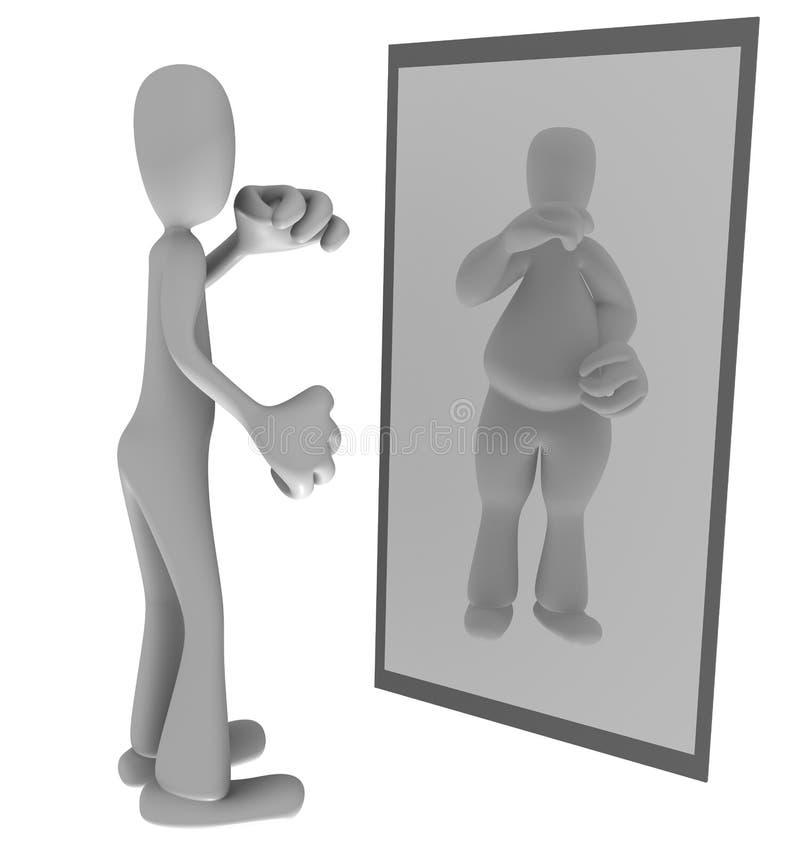 Persona fina que mira en espejo ilustración del vector