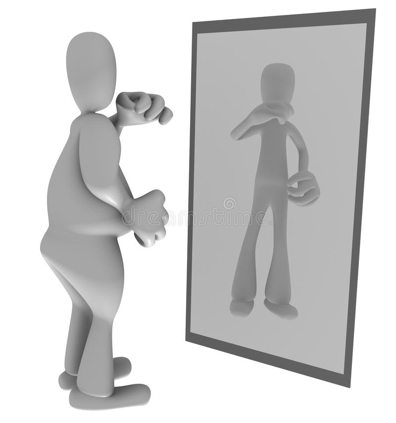 Persona gorda que mira en espejo stock de ilustración