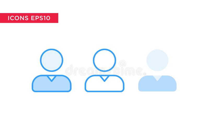 Persona, icono de la gente en línea, esquema, esquema llenado y estilo plano del diseño aislados en el fondo blanco Vector eps10 ilustración del vector