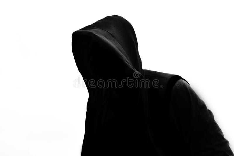 Persona incappucciata su bianco fotografia stock libera da diritti