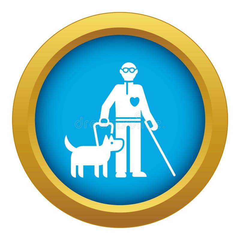 Persona inválida con vector azul del icono del perro aislada stock de ilustración