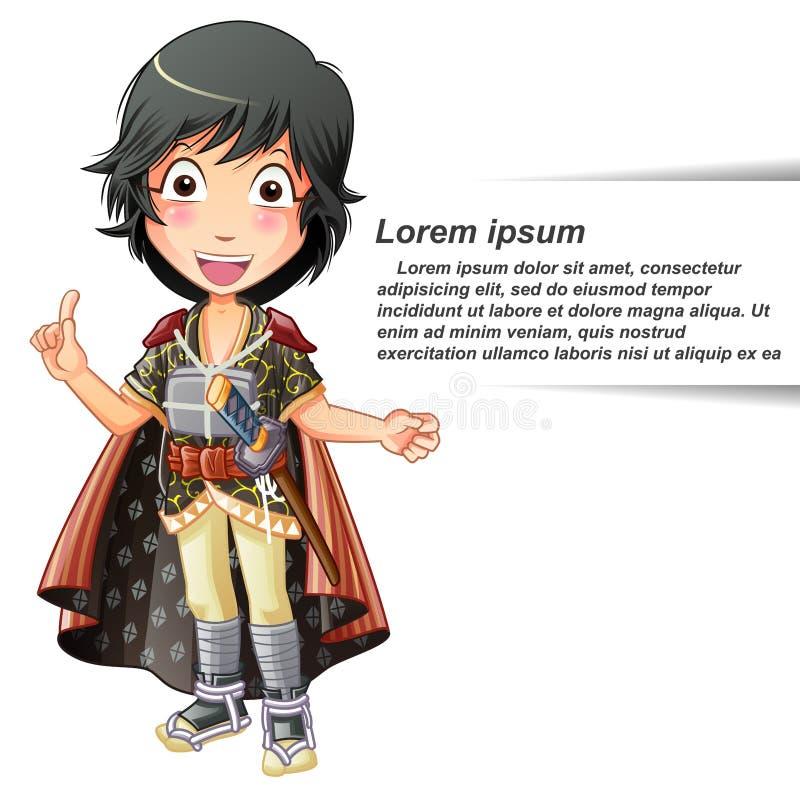 Persona isolata vettore nel vestito del samurai illustrazione di stock