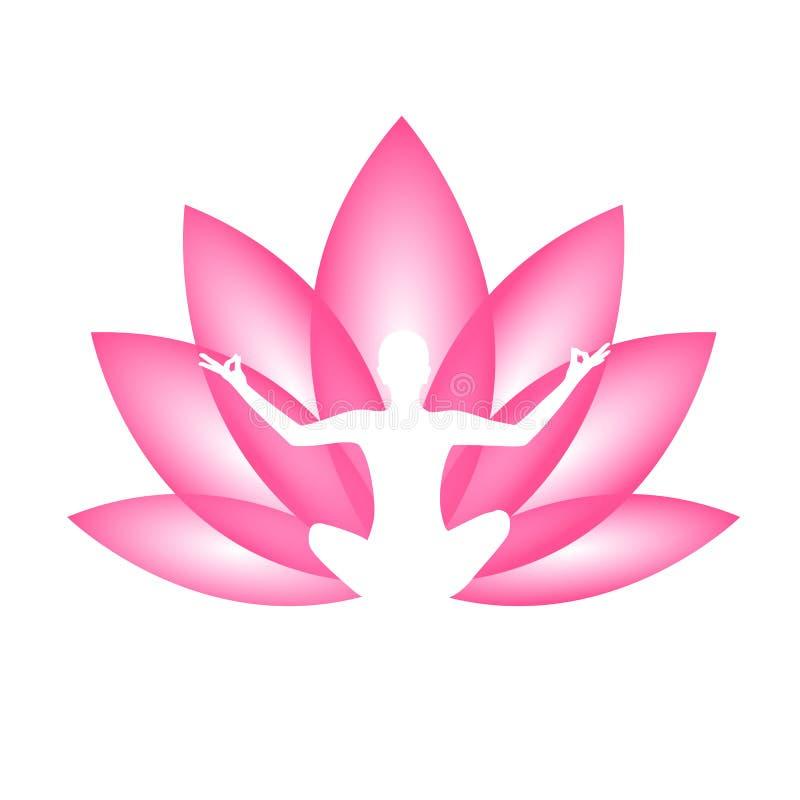 Persona joven que se sienta en silueta de la posición de loto de la meditación de la yoga con el lirio rosado ilustración del vector